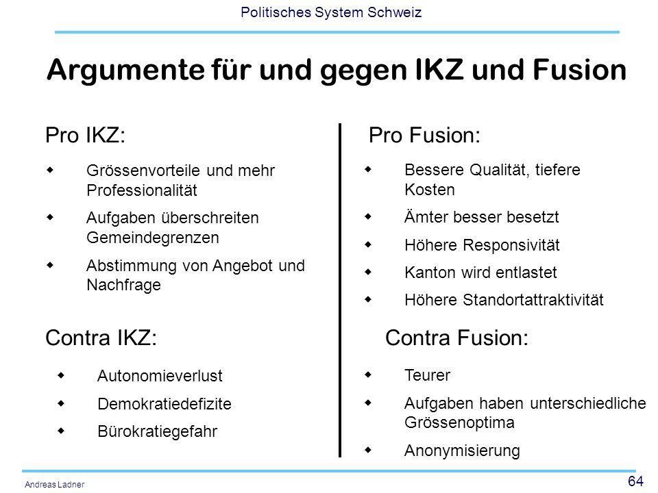 64 Politisches System Schweiz Andreas Ladner Grössenvorteile und mehr Professionalität Aufgaben überschreiten Gemeindegrenzen Abstimmung von Angebot u