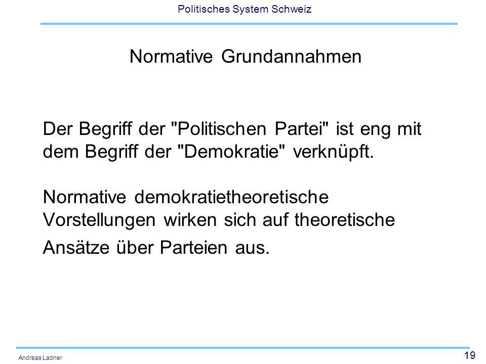 19 Politisches System Schweiz Andreas Ladner Der Begriff der Politischen Partei ist eng mit dem Begriff der Demokratie verknüpft.