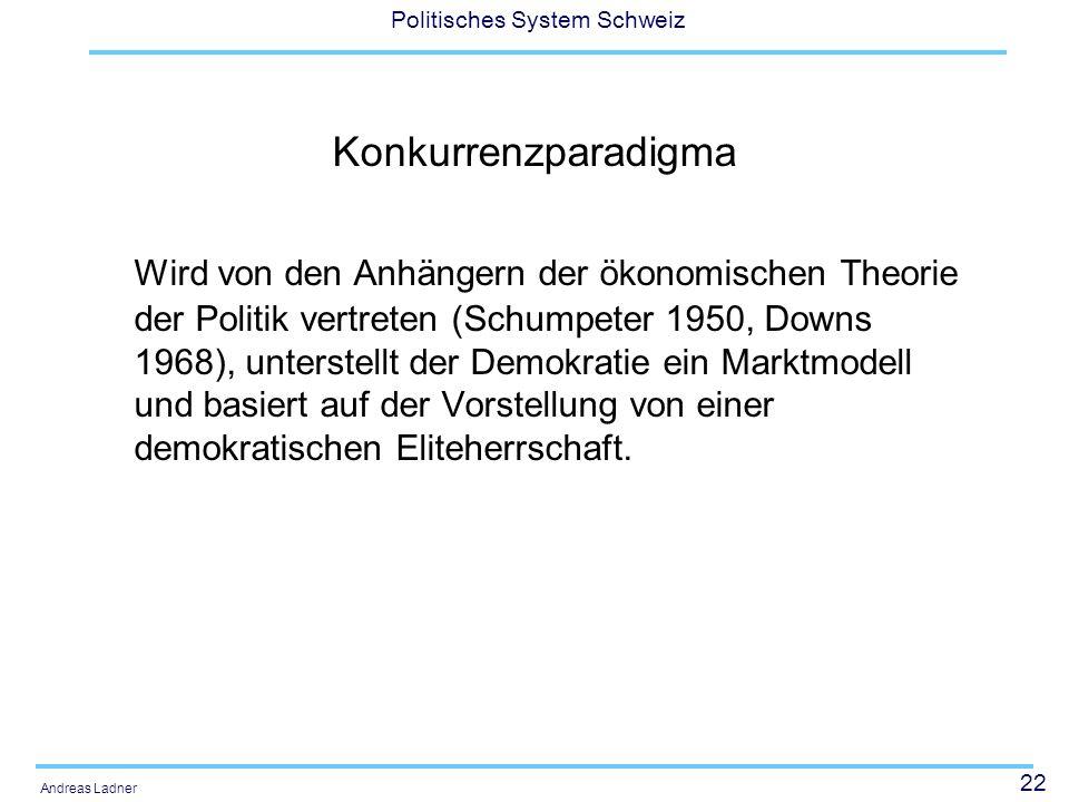 22 Politisches System Schweiz Andreas Ladner Konkurrenzparadigma Wird von den Anhängern der ökonomischen Theorie der Politik vertreten (Schumpeter 1950, Downs 1968), unterstellt der Demokratie ein Marktmodell und basiert auf der Vorstellung von einer demokratischen Eliteherrschaft.