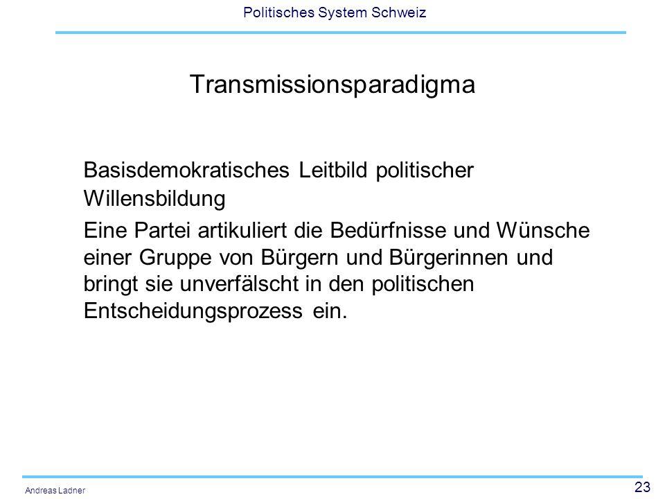 23 Politisches System Schweiz Andreas Ladner Transmissionsparadigma Basisdemokratisches Leitbild politischer Willensbildung Eine Partei artikuliert die Bedürfnisse und Wünsche einer Gruppe von Bürgern und Bürgerinnen und bringt sie unverfälscht in den politischen Entscheidungsprozess ein.