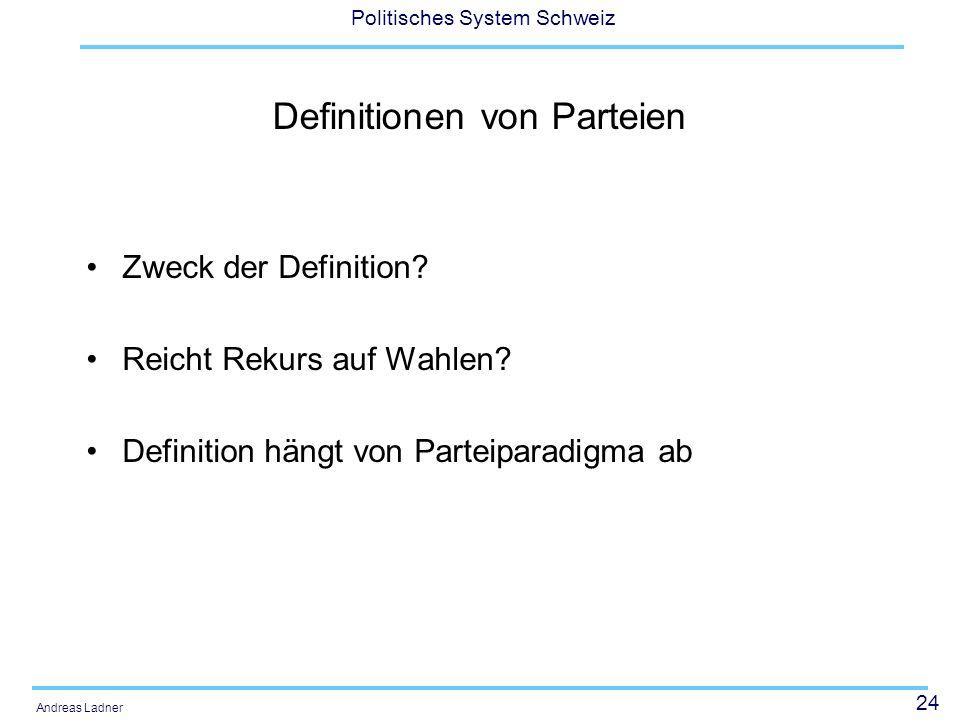 24 Politisches System Schweiz Andreas Ladner Definitionen von Parteien Zweck der Definition? Reicht Rekurs auf Wahlen? Definition hängt von Parteipara