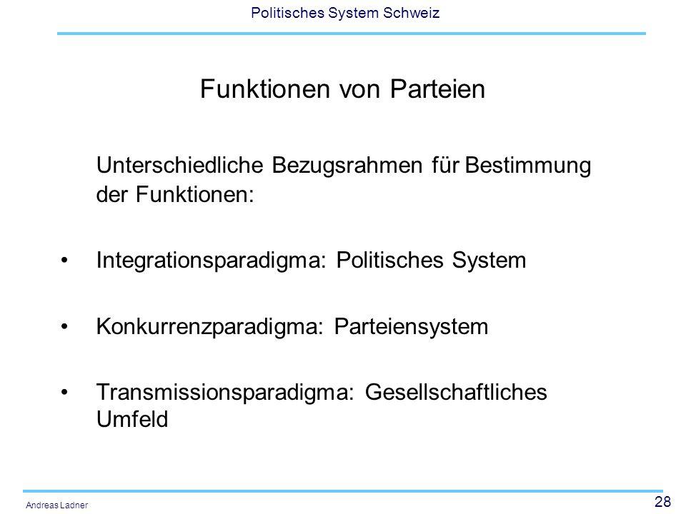 28 Politisches System Schweiz Andreas Ladner Funktionen von Parteien Unterschiedliche Bezugsrahmen für Bestimmung der Funktionen: Integrationsparadigma: Politisches System Konkurrenzparadigma: Parteiensystem Transmissionsparadigma: Gesellschaftliches Umfeld