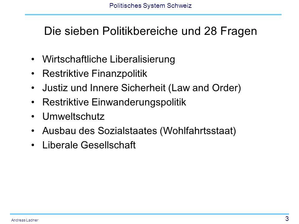 3 Politisches System Schweiz Andreas Ladner Die sieben Politikbereiche und 28 Fragen Wirtschaftliche Liberalisierung Restriktive Finanzpolitik Justiz und Innere Sicherheit (Law and Order) Restriktive Einwanderungspolitik Umweltschutz Ausbau des Sozialstaates (Wohlfahrtsstaat) Liberale Gesellschaft