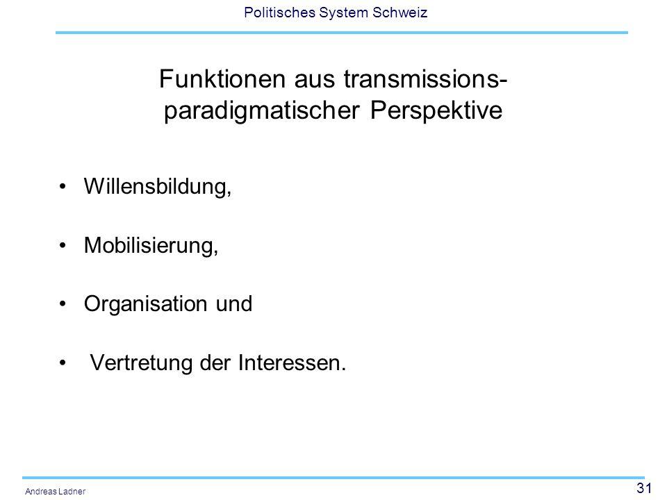 31 Politisches System Schweiz Andreas Ladner Funktionen aus transmissions- paradigmatischer Perspektive Willensbildung, Mobilisierung, Organisation und Vertretung der Interessen.