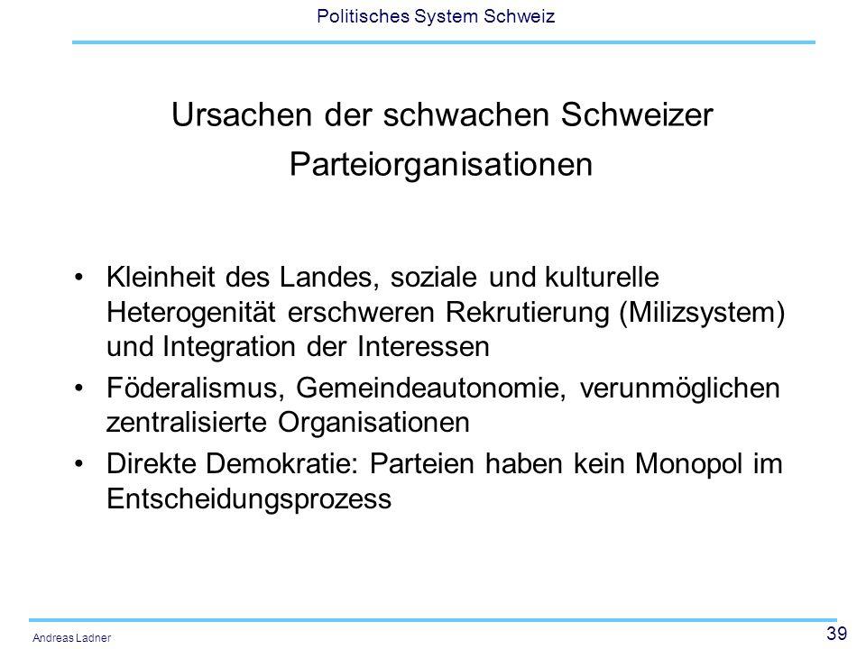 39 Politisches System Schweiz Andreas Ladner Ursachen der schwachen Schweizer Parteiorganisationen Kleinheit des Landes, soziale und kulturelle Hetero