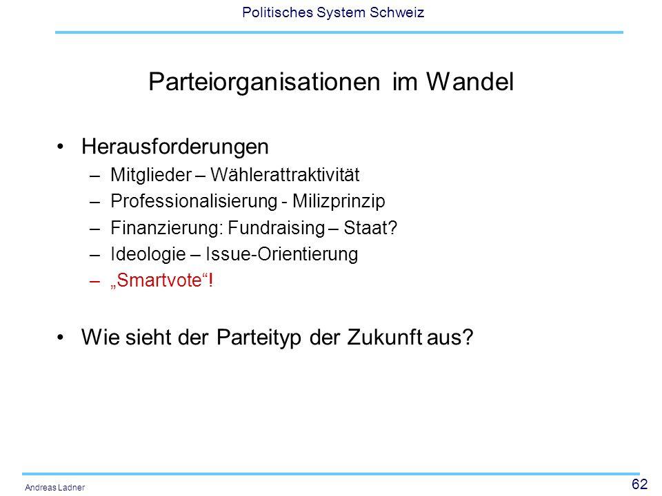 62 Politisches System Schweiz Andreas Ladner Parteiorganisationen im Wandel Herausforderungen –Mitglieder – Wählerattraktivität –Professionalisierung - Milizprinzip –Finanzierung: Fundraising – Staat.