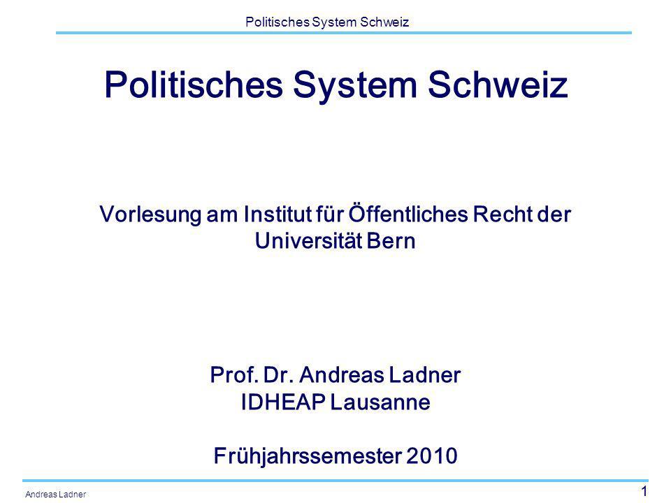 32 Politisches System Schweiz Andreas Ladner Kontext: Strukturelle Merkmale Politische Feingliederung Sprachregionen Konfessionen Ausländeranteil Arbeitslosigkeit Bruttosozialprodukt Staatsquote, Steuerbelastung