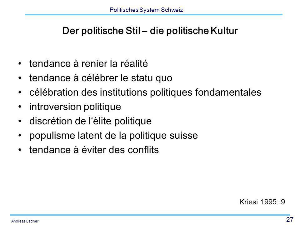 27 Politisches System Schweiz Andreas Ladner Der politische Stil – die politische Kultur tendance à renier la réalité tendance à célébrer le statu quo