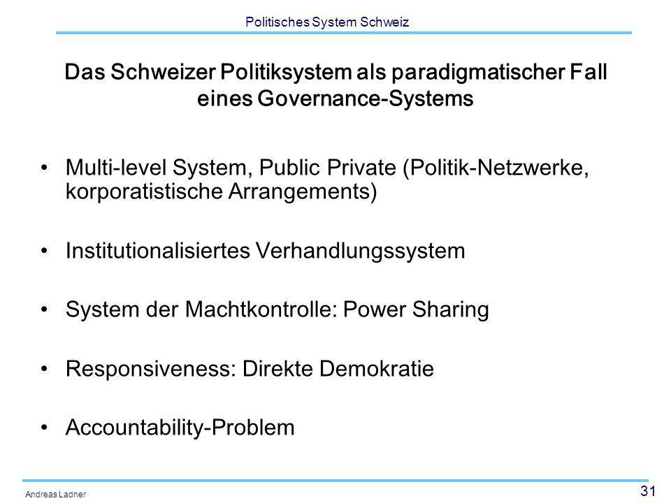 31 Politisches System Schweiz Andreas Ladner Das Schweizer Politiksystem als paradigmatischer Fall eines Governance-Systems Multi-level System, Public