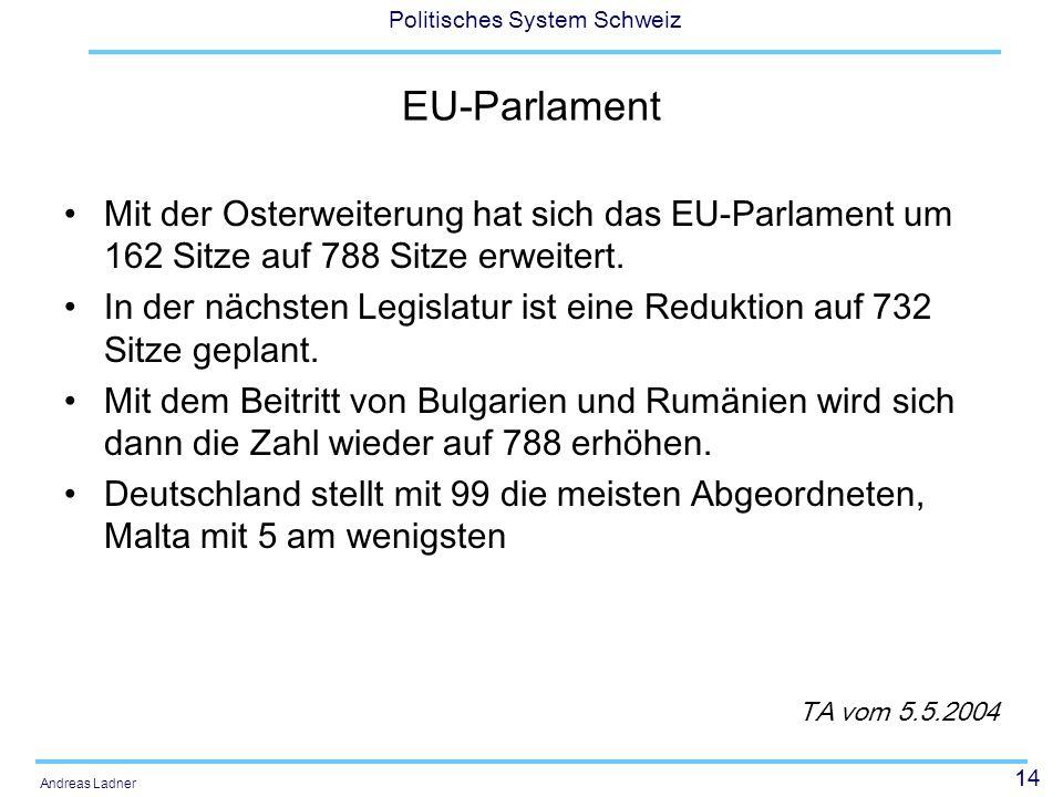 14 Politisches System Schweiz Andreas Ladner EU-Parlament Mit der Osterweiterung hat sich das EU-Parlament um 162 Sitze auf 788 Sitze erweitert.