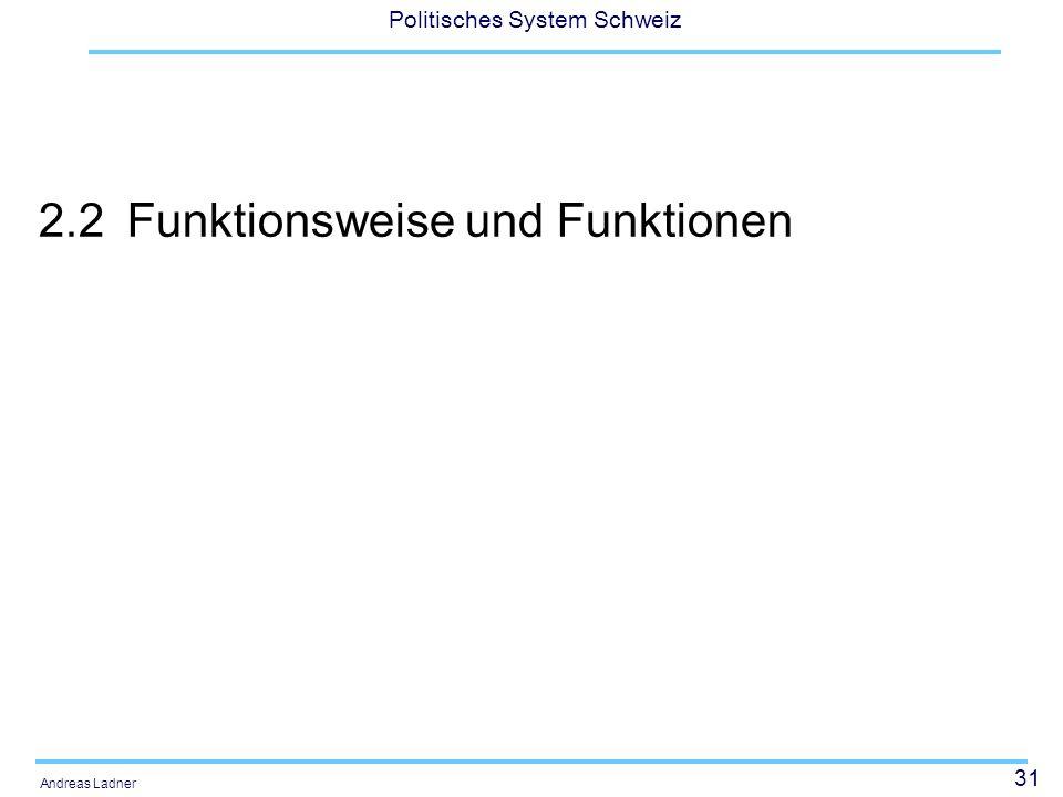 31 Politisches System Schweiz Andreas Ladner 2.2Funktionsweise und Funktionen