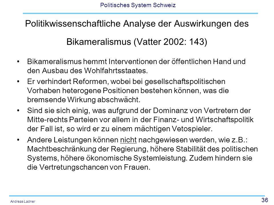 36 Politisches System Schweiz Andreas Ladner Politikwissenschaftliche Analyse der Auswirkungen des Bikameralismus (Vatter 2002: 143) Bikameralismus hemmt Interventionen der öffentlichen Hand und den Ausbau des Wohlfahrtsstaates.