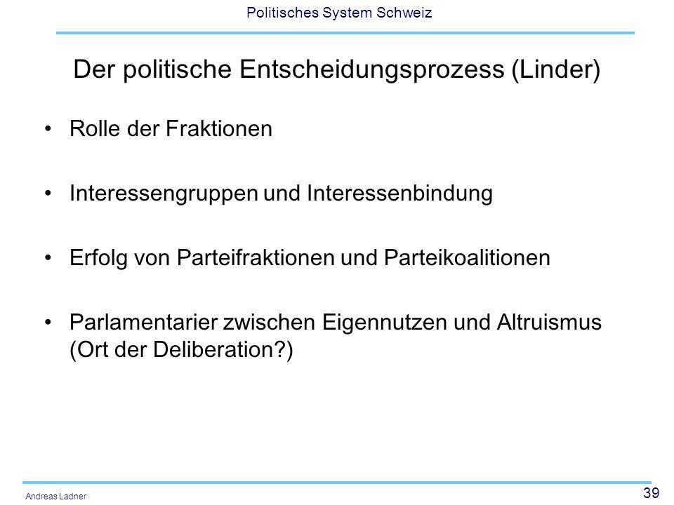 39 Politisches System Schweiz Andreas Ladner Der politische Entscheidungsprozess (Linder) Rolle der Fraktionen Interessengruppen und Interessenbindung Erfolg von Parteifraktionen und Parteikoalitionen Parlamentarier zwischen Eigennutzen und Altruismus (Ort der Deliberation )