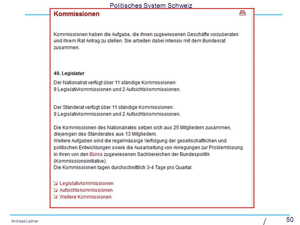 50 Politisches System Schweiz Andreas Ladner | Diaposit ive 50 |