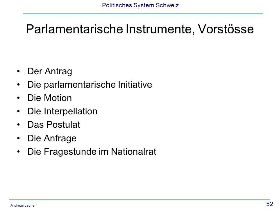 52 Politisches System Schweiz Andreas Ladner Parlamentarische Instrumente, Vorstösse Der Antrag Die parlamentarische Initiative Die Motion Die Interpellation Das Postulat Die Anfrage Die Fragestunde im Nationalrat