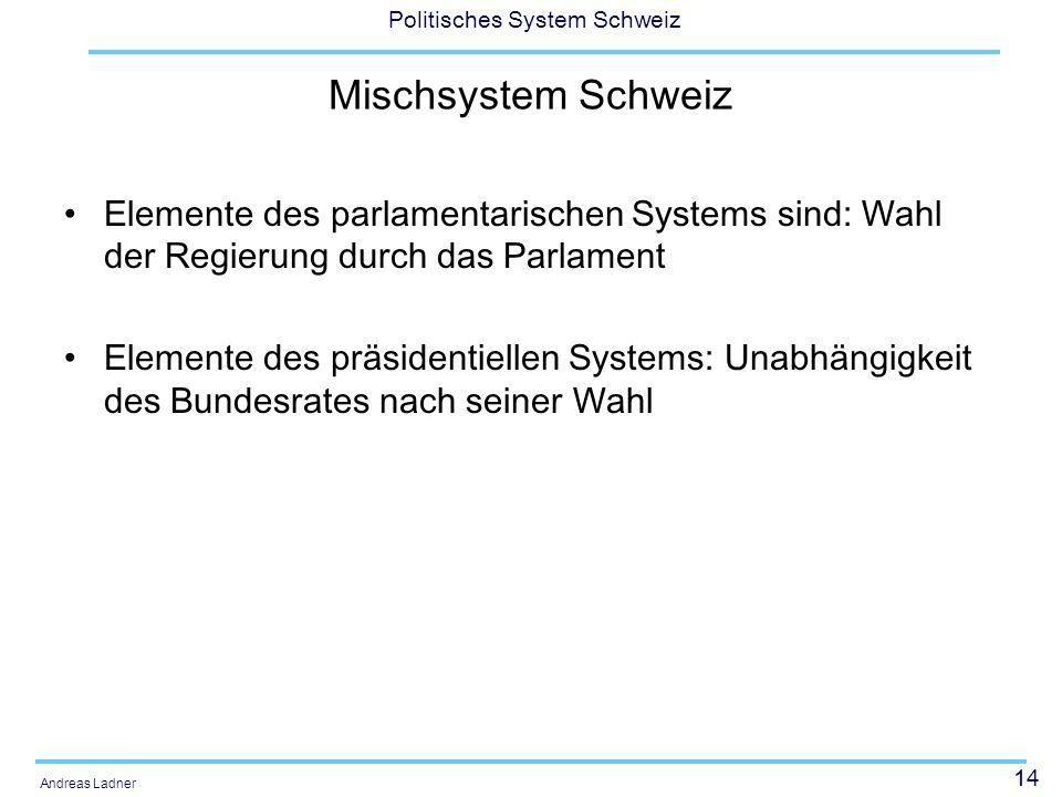 14 Politisches System Schweiz Andreas Ladner Mischsystem Schweiz Elemente des parlamentarischen Systems sind: Wahl der Regierung durch das Parlament Elemente des präsidentiellen Systems: Unabhängigkeit des Bundesrates nach seiner Wahl
