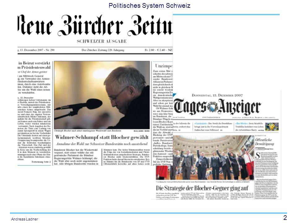 23 Politisches System Schweiz Andreas Ladner Die parteipolitische Zusammensetzung des Bundesrates ( * BDP
