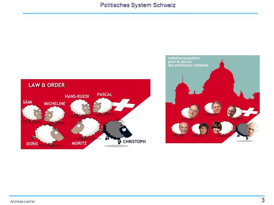 24 Politisches System Schweiz Andreas Ladner Etappen zur Zauberformel - Konkordanz 17.12.1891: Joseph Zemp (CVP) 11.12.1919: Jean-Marie Musy (CVP) 13.12.1929: Rudolf Minger (SVP) als Ersatz für Scheurer im ersten Wahlgang mit 148 Stimmen 15.12.1943: Ernst Nobs (SP) 17.12.1959: Hans-Peter Tschudi (SP, BS, 129) und Willy Spühler (SP, ZH, 149) ?