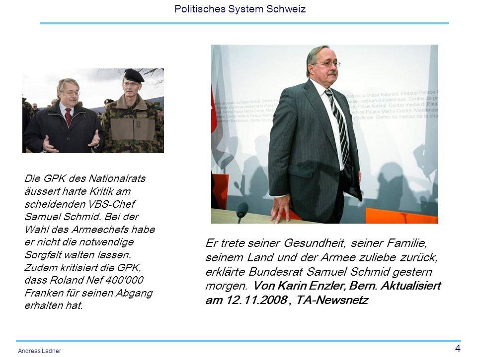 45 Politisches System Schweiz Andreas Ladner Charakteristika Volkswahl als Hauptunterschied zum Bundesrat Schwächere Stellung des Parlaments Kollegialbehörde Unterschiedliche Bezeichnungen 5 oder 7 Mitglieder (Noch) in fester Hand von CVP und FDP