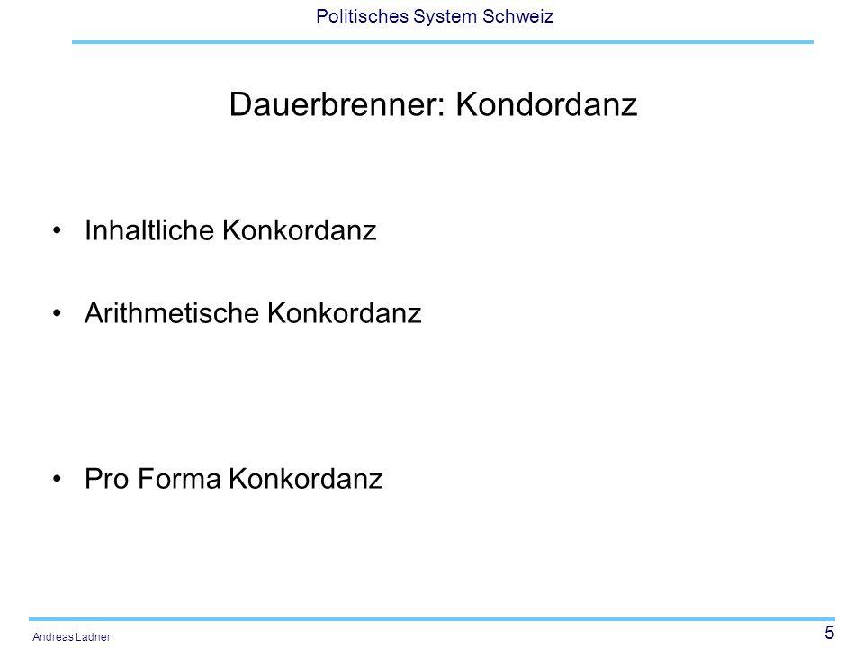 6 Politisches System Schweiz Andreas Ladner Dauerbrenner: Regierungsreform