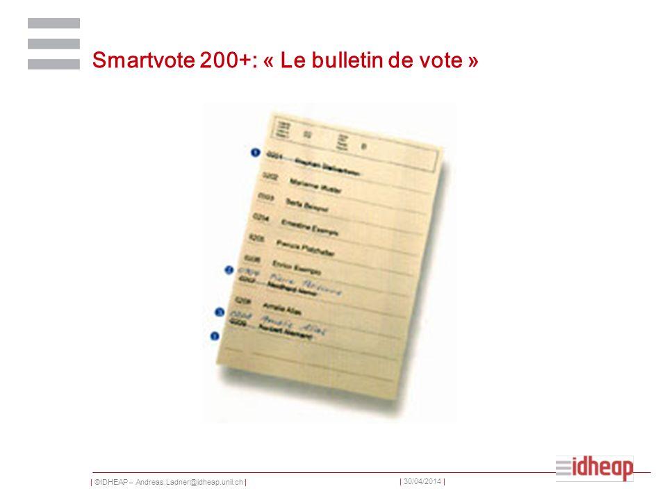 | ©IDHEAP – Andreas.Ladner@idheap.unil.ch | | 30/04/2014 | Smartvote 200+: « Le bulletin de vote »