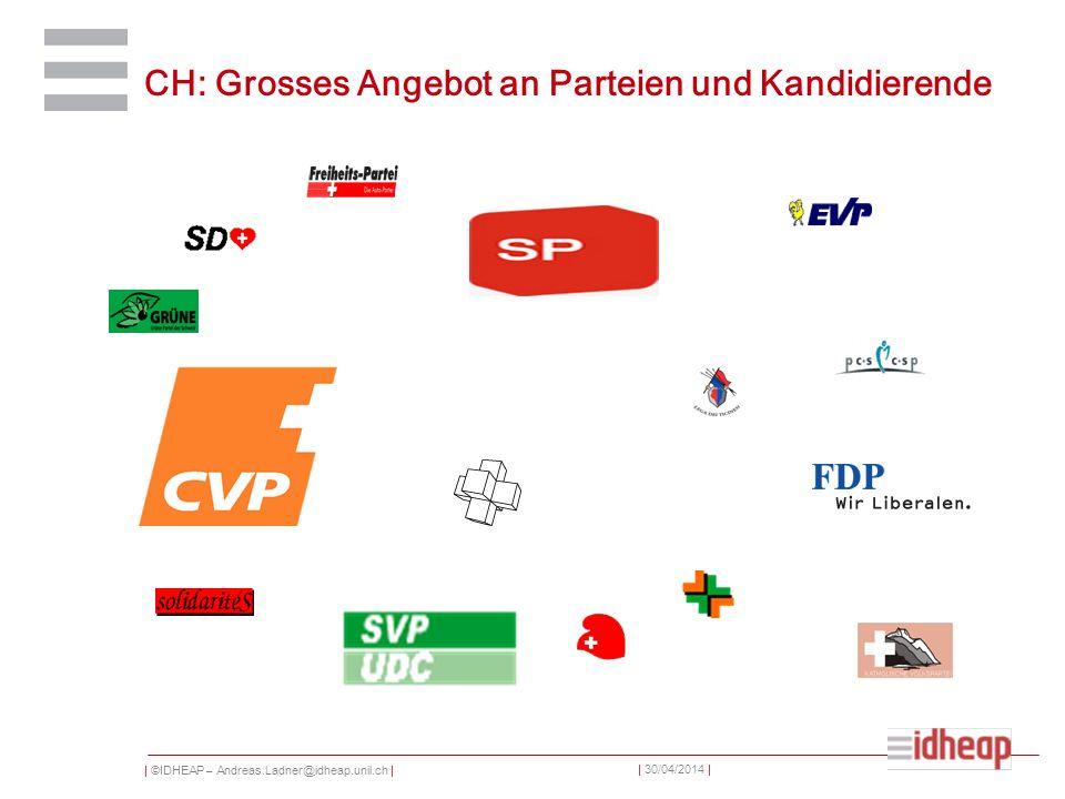 | ©IDHEAP – Andreas.Ladner@idheap.unil.ch | | 30/04/2014 | CH: Grosses Angebot an Parteien und Kandidierende