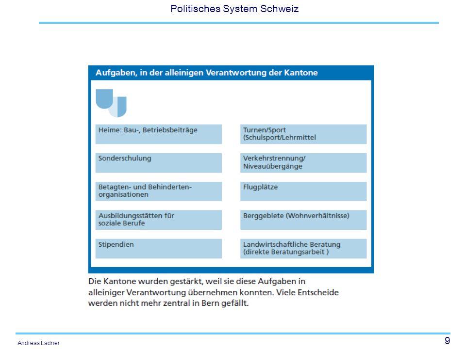 30 Politisches System Schweiz Andreas Ladner Beratung im Parlament und Ausblick Der Ständerat hat als Erstrat das Geschäft in der Frühlingssession 2007 verabschieden.