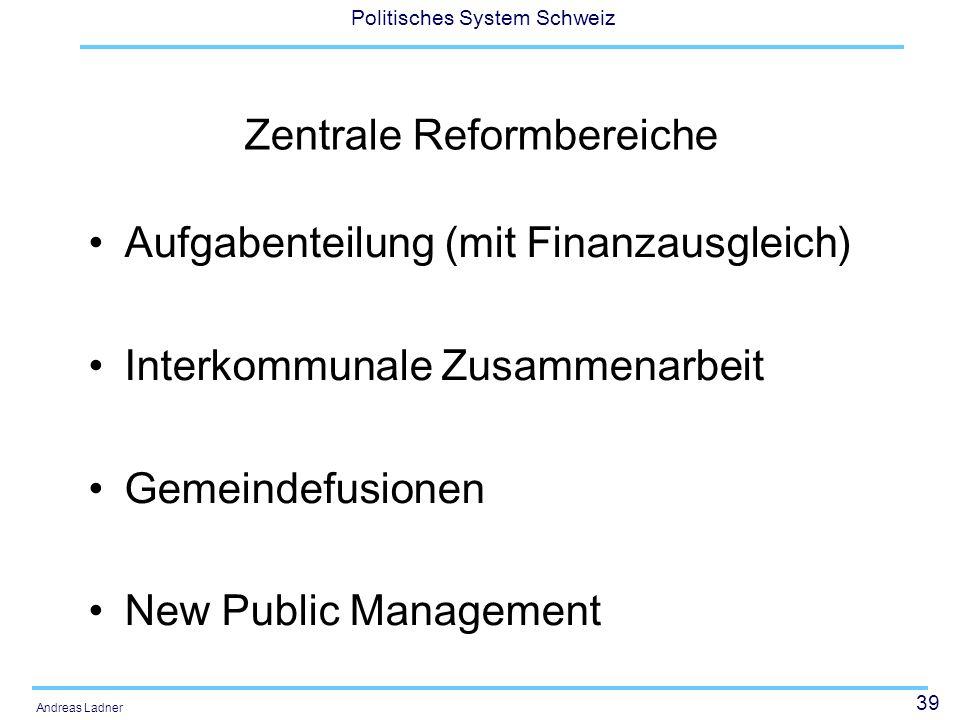 39 Politisches System Schweiz Andreas Ladner Zentrale Reformbereiche Aufgabenteilung (mit Finanzausgleich) Interkommunale Zusammenarbeit Gemeindefusionen New Public Management
