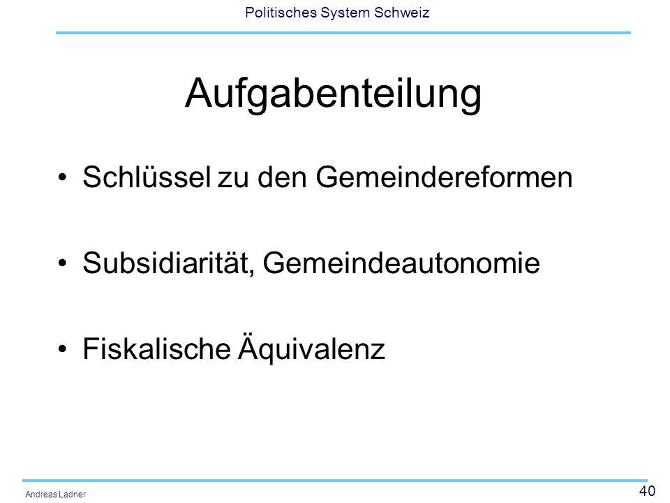 40 Politisches System Schweiz Andreas Ladner Aufgabenteilung Schlüssel zu den Gemeindereformen Subsidiarität, Gemeindeautonomie Fiskalische Äquivalenz