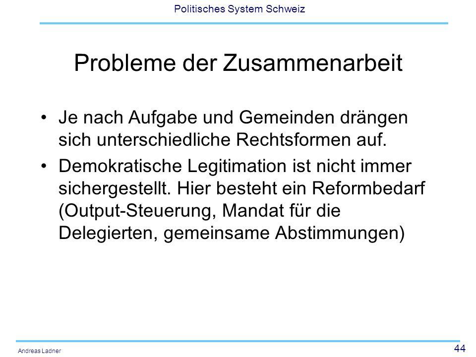 44 Politisches System Schweiz Andreas Ladner Probleme der Zusammenarbeit Je nach Aufgabe und Gemeinden drängen sich unterschiedliche Rechtsformen auf.