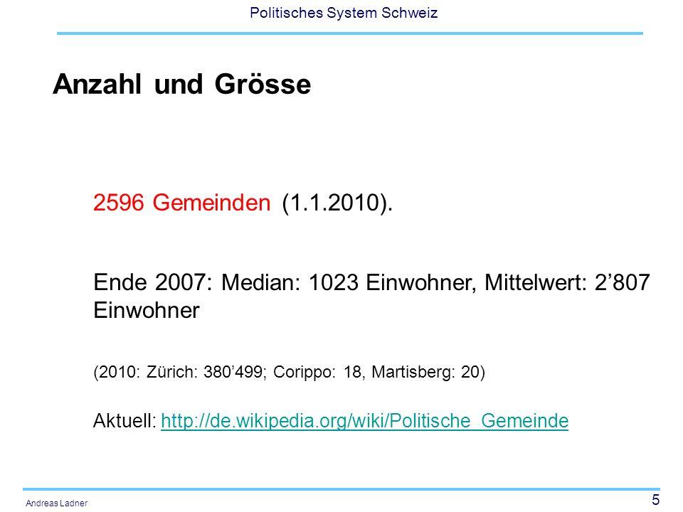 5 Politisches System Schweiz Andreas Ladner Anzahl und Grösse 2596 Gemeinden (1.1.2010).