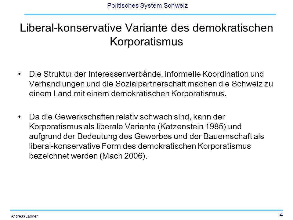 4 Politisches System Schweiz Andreas Ladner Liberal-konservative Variante des demokratischen Korporatismus Die Struktur der Interessenverbände, inform