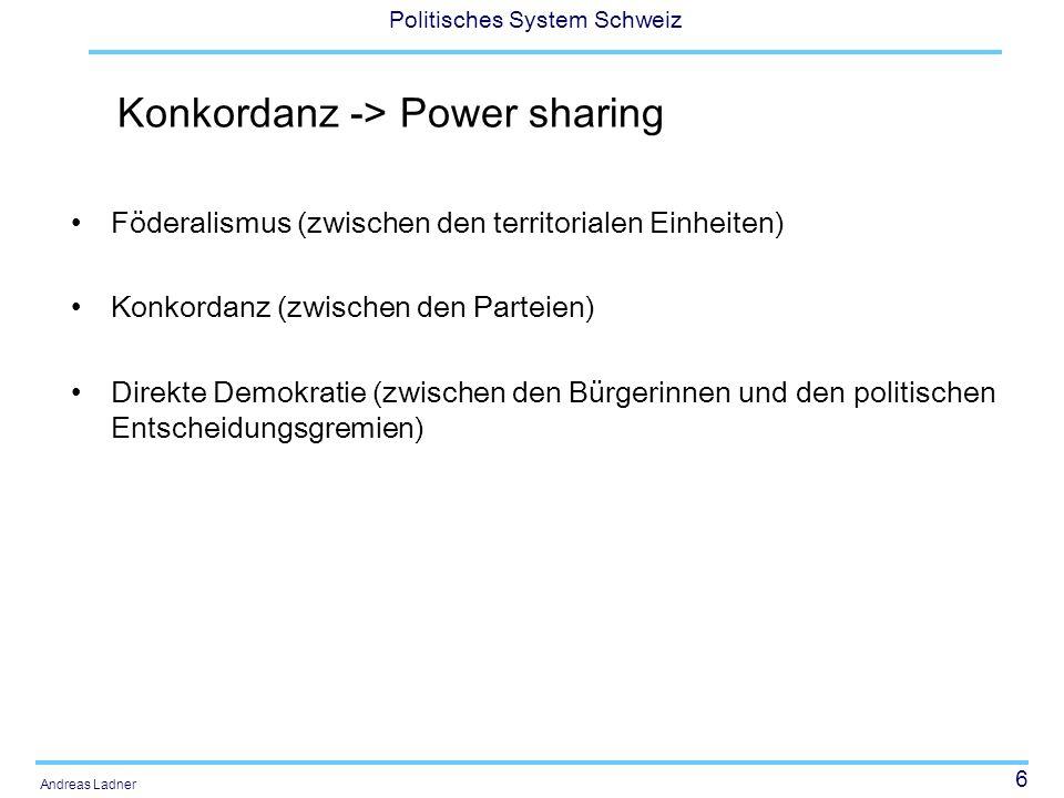 6 Politisches System Schweiz Andreas Ladner Konkordanz -> Power sharing Föderalismus (zwischen den territorialen Einheiten) Konkordanz (zwischen den P