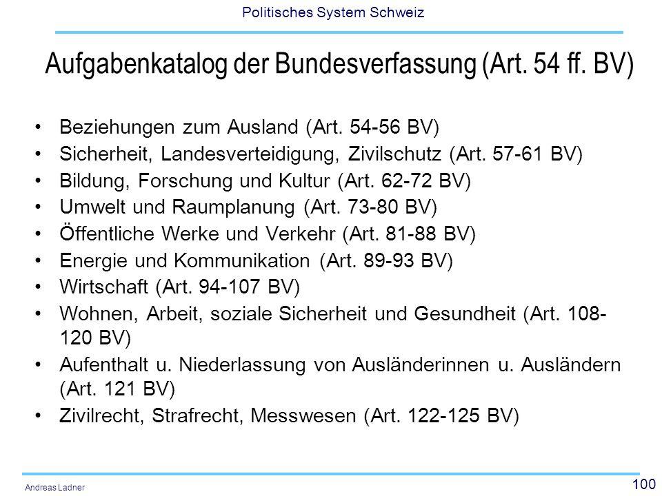100 Politisches System Schweiz Andreas Ladner Aufgabenkatalog der Bundesverfassung (Art. 54 ff. BV) Beziehungen zum Ausland (Art. 54-56 BV) Sicherheit