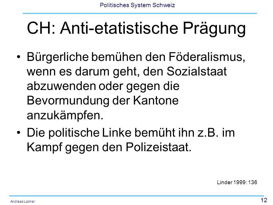 12 Politisches System Schweiz Andreas Ladner CH: Anti-etatistische Prägung Bürgerliche bemühen den Föderalismus, wenn es darum geht, den Sozialstaat a