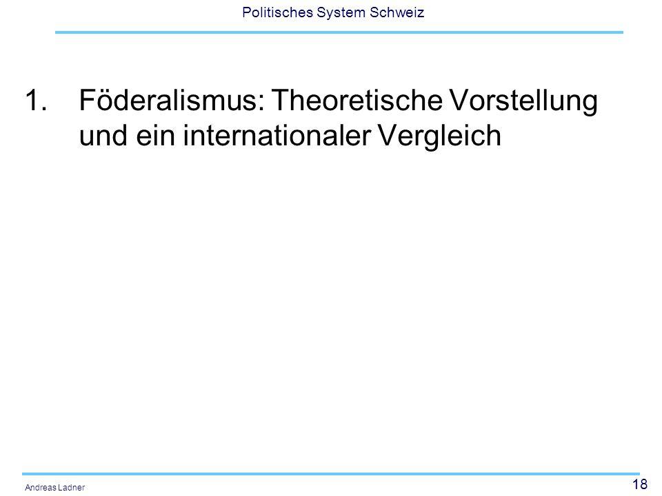 18 Politisches System Schweiz Andreas Ladner 1.Föderalismus: Theoretische Vorstellung und ein internationaler Vergleich