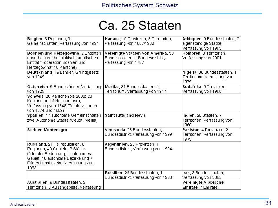 31 Politisches System Schweiz Andreas Ladner Ca. 25 Staaten