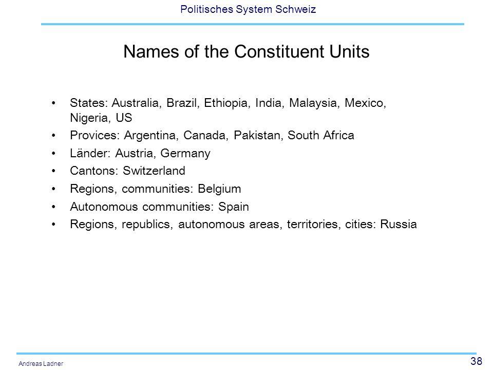 38 Politisches System Schweiz Andreas Ladner Names of the Constituent Units States: Australia, Brazil, Ethiopia, India, Malaysia, Mexico, Nigeria, US