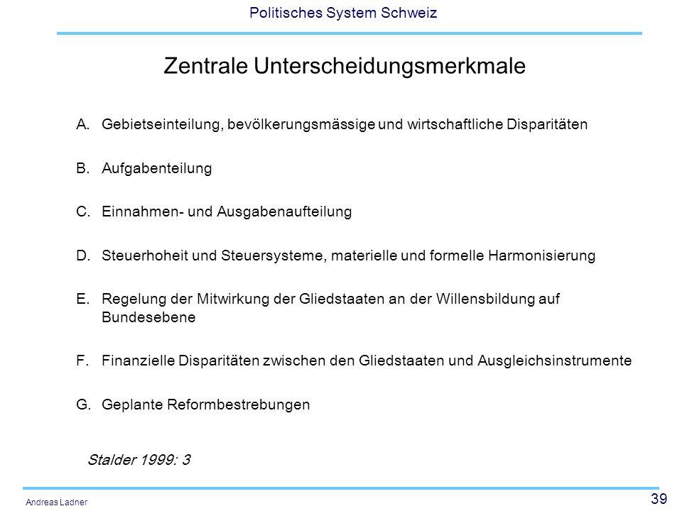 39 Politisches System Schweiz Andreas Ladner Zentrale Unterscheidungsmerkmale A.Gebietseinteilung, bevölkerungsmässige und wirtschaftliche Disparitäte