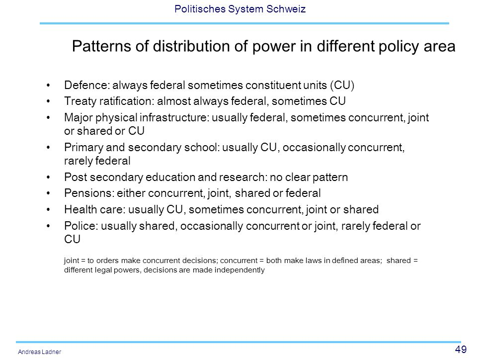 49 Politisches System Schweiz Andreas Ladner Patterns of distribution of power in different policy area Defence: always federal sometimes constituent