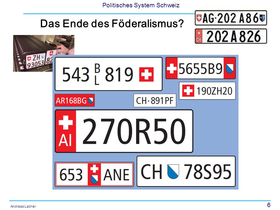 47 Politisches System Schweiz Andreas Ladner Aufgabenerbringung Kooperativer Föderalismus –Verschiedene Ebenen arbeiten zusammen, um gewisse Aufgaben zu erfüllen Dualer Föderalismus –Klare Kompetenzabgrenzung zwischen den beiden/verschiedenen Ebenen (Zweipolare Verfassungsordnung)
