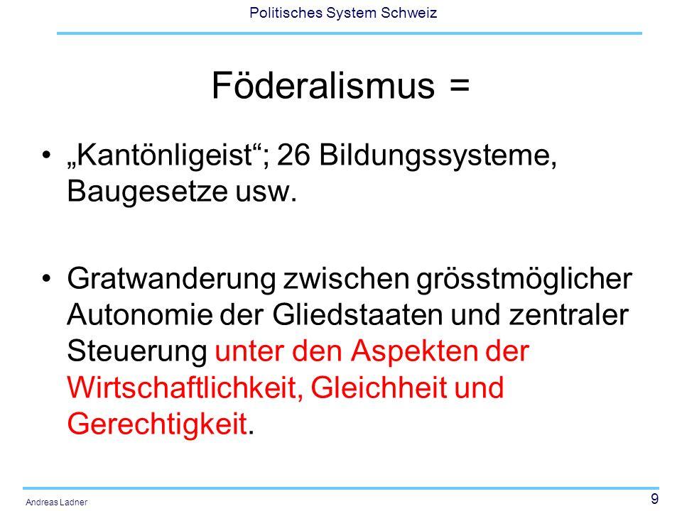 9 Politisches System Schweiz Andreas Ladner Föderalismus = Kantönligeist; 26 Bildungssysteme, Baugesetze usw. Gratwanderung zwischen grösstmöglicher A