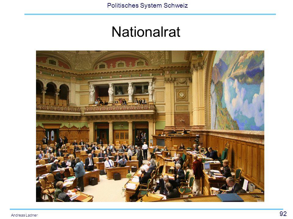 92 Politisches System Schweiz Andreas Ladner Nationalrat