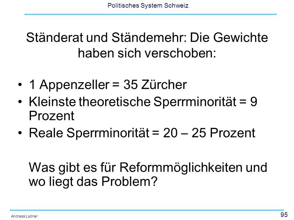 95 Politisches System Schweiz Andreas Ladner Ständerat und Ständemehr: Die Gewichte haben sich verschoben: 1 Appenzeller = 35 Zürcher Kleinste theoret