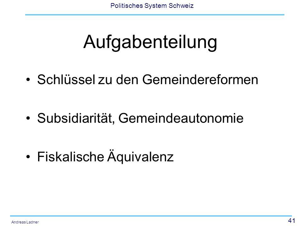 41 Politisches System Schweiz Andreas Ladner Aufgabenteilung Schlüssel zu den Gemeindereformen Subsidiarität, Gemeindeautonomie Fiskalische Äquivalenz
