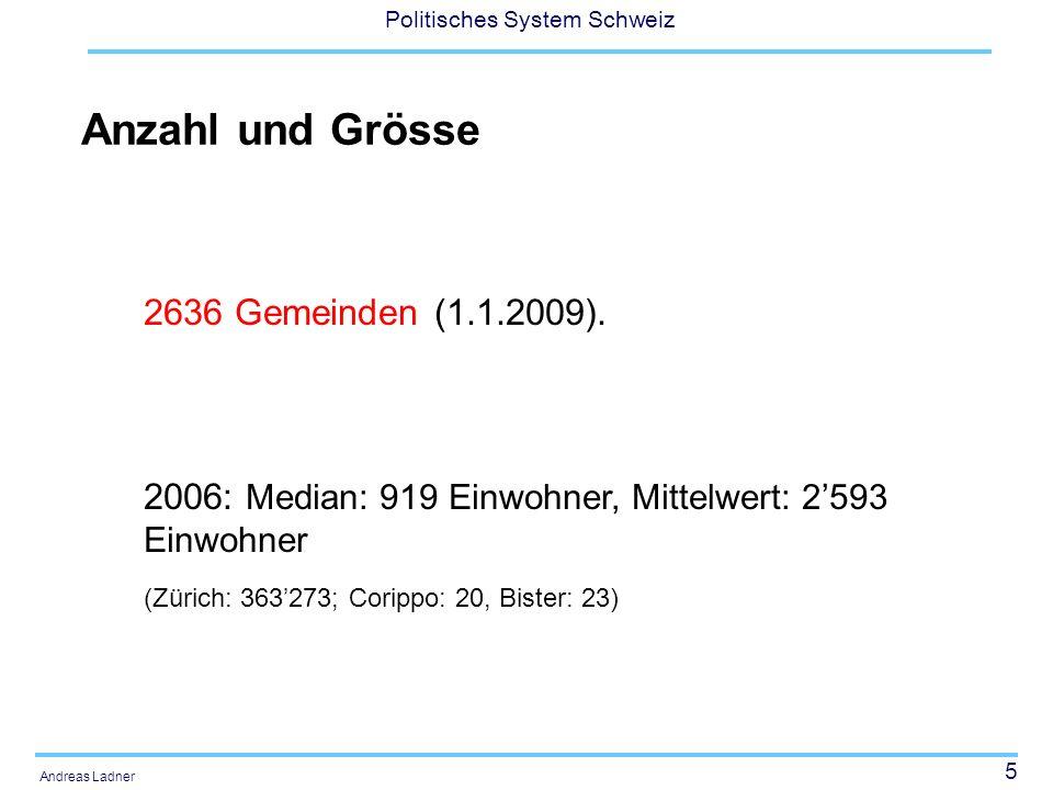 5 Politisches System Schweiz Andreas Ladner Anzahl und Grösse 2636 Gemeinden (1.1.2009). 2006: Median: 919 Einwohner, Mittelwert: 2593 Einwohner (Züri