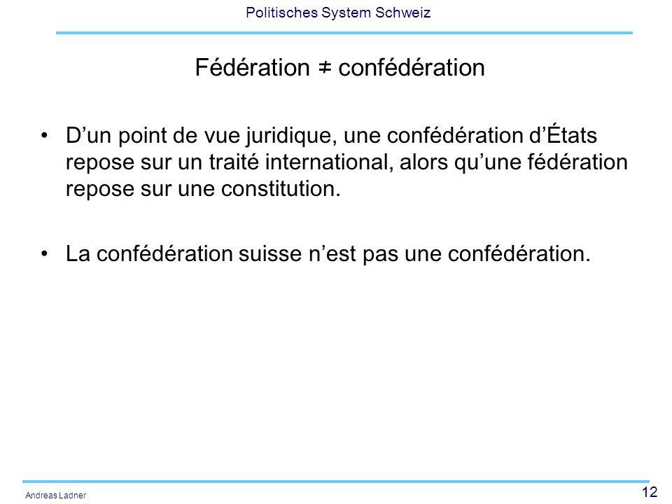 12 Politisches System Schweiz Andreas Ladner Fédération confédération Dun point de vue juridique, une confédération dÉtats repose sur un traité international, alors quune fédération repose sur une constitution.
