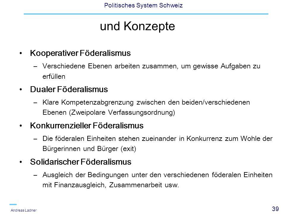 39 Politisches System Schweiz Andreas Ladner und Konzepte Kooperativer Föderalismus –Verschiedene Ebenen arbeiten zusammen, um gewisse Aufgaben zu erfüllen Dualer Föderalismus –Klare Kompetenzabgrenzung zwischen den beiden/verschiedenen Ebenen (Zweipolare Verfassungsordnung) Konkurrenzieller Föderalismus –Die föderalen Einheiten stehen zueinander in Konkurrenz zum Wohle der Bürgerinnen und Bürger (exit) Solidarischer Föderalismus –Ausgleich der Bedingungen unter den verschiedenen föderalen Einheiten mit Finanzausgleich, Zusammenarbeit usw.