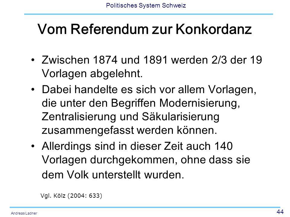 44 Politisches System Schweiz Andreas Ladner Vom Referendum zur Konkordanz Zwischen 1874 und 1891 werden 2/3 der 19 Vorlagen abgelehnt.