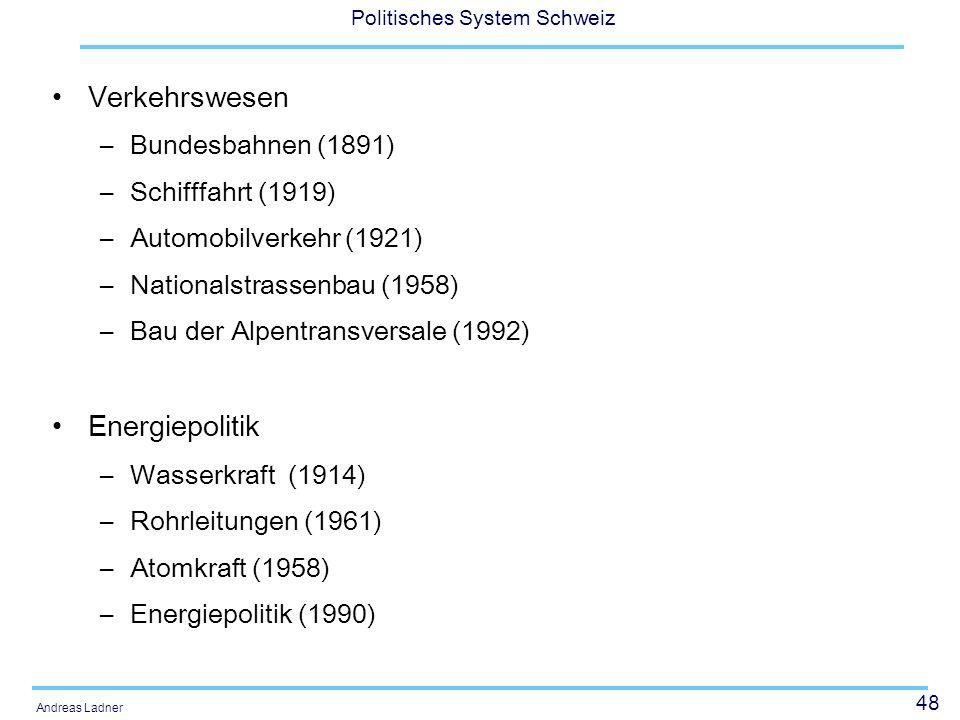 48 Politisches System Schweiz Andreas Ladner Verkehrswesen –Bundesbahnen (1891) –Schifffahrt (1919) –Automobilverkehr (1921) –Nationalstrassenbau (1958) –Bau der Alpentransversale (1992) Energiepolitik –Wasserkraft (1914) –Rohrleitungen (1961) –Atomkraft (1958) –Energiepolitik (1990)